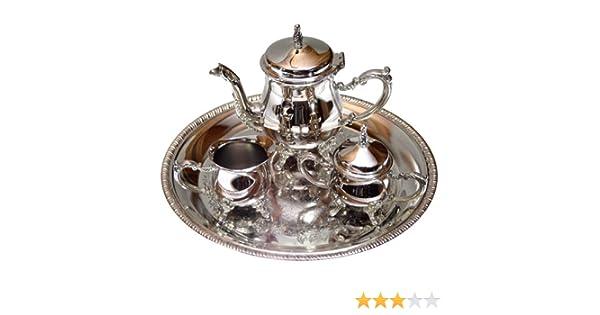 Juego de café Silver Plated: cafetera + lechera + azucarero + bandeja: Amazon.es: Hogar