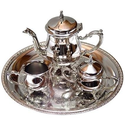 Juego de café Silver Plated: cafetera + lechera + azucarero + bandeja