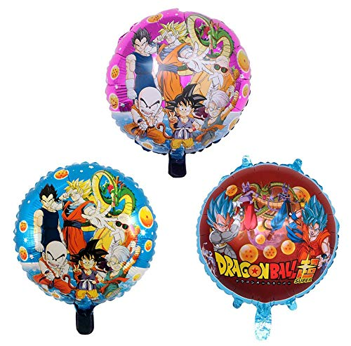 AG Goodies Dragon Ball Z Balloons, 3 Pack Birthday Celebration Foil Balloon Set, DBZ Super Saiyan Goku Gohan Character Party Decorations -