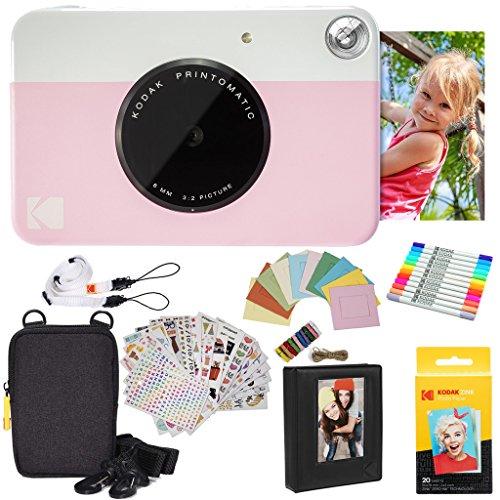 Kodak Printomatic Instant Camera (Pink) Gift Bundle + Zink Paper (20 Sheets) + Deluxe Case + 7 Fun Sticker Sets + Twin Tip Markers + Photo Album + Hanging Frames (Digital Camera Printer Bundle)