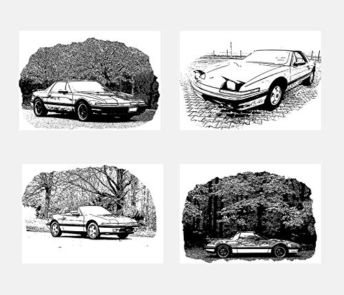 Wall Art Decoration Black and White Illustration Cars Machine Buick Reatta Poster Prints Set of 4 Size A4 (21cm x 29cm) Unframed for Minimalist Art Automobile Lovers