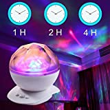 Liping Soothing Aurora LED Night Light Projector with Timer, Relaxing Light Show,Night Light Mini Rotating Magic for Bedroom Living Room (A)