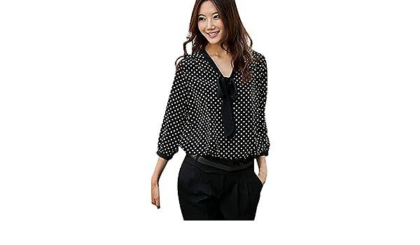 Amazon.com : HOSOME Women Top Women Long Sleeve Chiffon Bowknot Shirt Casual V-Neck Dots Blouse Top : Grocery & Gourmet Food