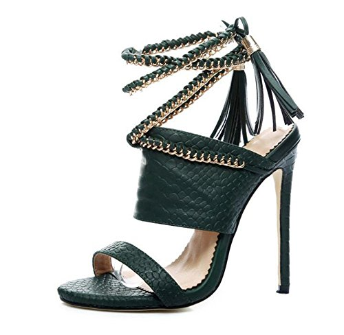 Ladies Open Toe Pump Foot Ring Strap Sandals Summer 2017 New Tassel Sandals Large Women Metal Chain Shoes ( Color : Green , Size : 37 ) by GLTER