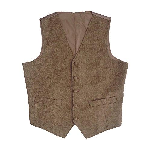 Tailorsun Tweed Vintage Rustic Wedding Vest Brown with Piping Edge