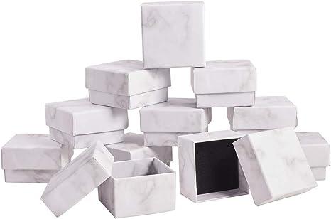 Fiesta Anillo para Navidad Collar BENECREAT 24 Piezas Caja Blanca de Cart/ón Craft con Textura Caja de Papel Craft de Regalo 7x4x3cm Envase Superior de Aretes Cumplea/ños