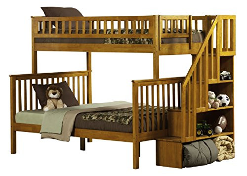 Atlantic Furniture Woodland Staircase Bunk Bed, Caramel Latte, Twin Over Full (Bunk Bed Twin Maple)