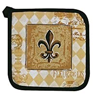 Majestic Black & Tan Fleur de Lis Kitchen Print Pot Holder
