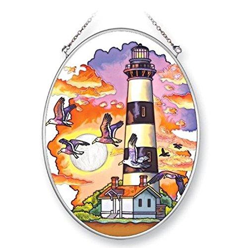 Lighthouse Suncatcher (Amia 41351 Lighthouse at Dusk 5-1/2 by 7-Inch Oval Sun Catcher, Medium)
