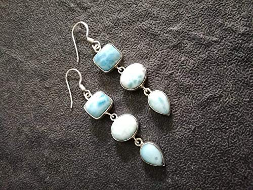 Beautiful Pear Shape - Handmadejewelry- Beautiful Handmade Larimar Pearl Earrings | 925 Sterling Silver | Gemstone Dangler for Women | Vintage Design | Cushion Pear Oval Shape | Available in All US Sizes | Multistone Stud