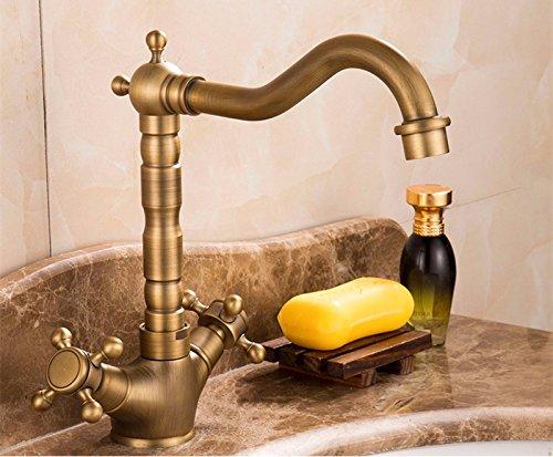 Hlluya Wasserhahn für Waschbecken Küche Retro antik Hahn Waschbecken mit warmen und kalten voll Kupfer Mischbatterie Doppel die Krallen kurz