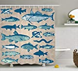 Fishing Themed Shower Curtains Ambesonne Fish Shower Curtain Nautical Coastal Theme Marine Decor, Sea Creatures Tropical Aquarioum Aqua Art Prints Fishing Underwater Beach Bathroom Polyester Fabric, 69x70 Inches, Taupe Navy Teal