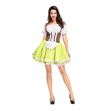 Gyratedream Dirndl Dresses Oktoberfest Fake Two-Piece Dirndl Set Bavarian German Beer Festival Outfits Performance Costumes Cosplay Sets: Amazon.co.uk: ...