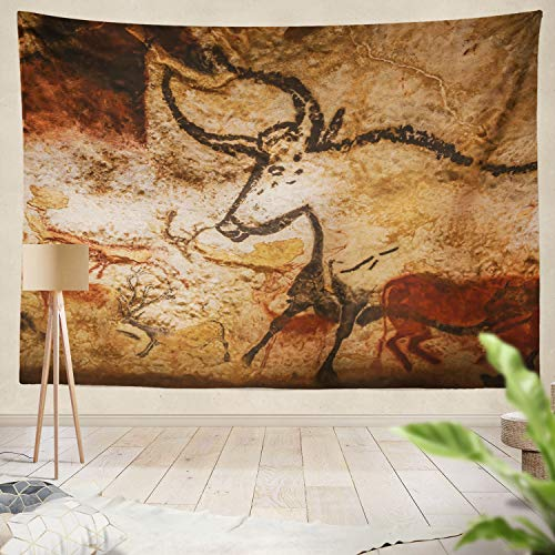 threetothree Tapestry Valley France Animals Wall Cave World Heritage List Valley France Art Europe France France Hanging Tapestries 60 X 80 Inch Wall Hanging Decor for Bedroom Livingroom Dorm