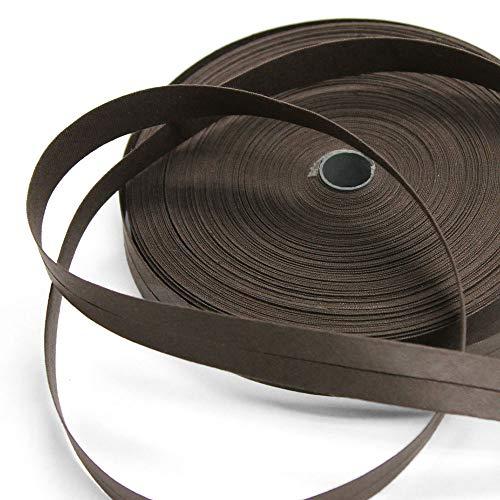 Mimi 100% Cotton 15mm Dark Brown Single Fold Bias Tape, 27 Yard Roll, Made in ()