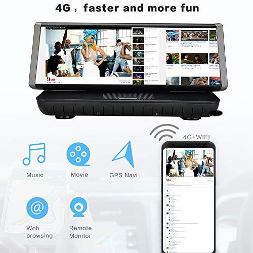 ZMM Dash CAM 1080P Dual Lens 8 Pulgadas IPS Pantalla táctil, Bluetooth WiFi 4G Android 5,1 Coche Espejo retrovisor DVR...