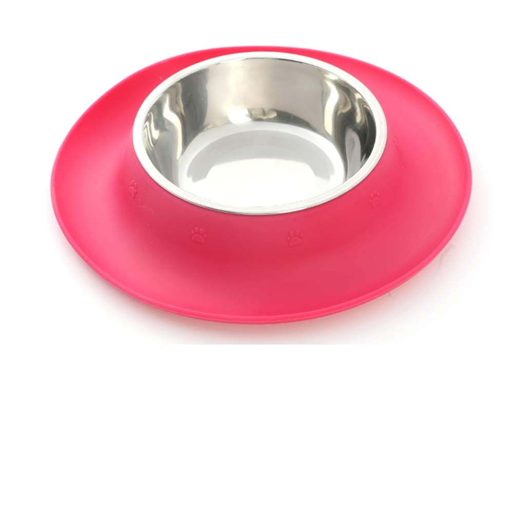 A Small pet Stainless Steel Bowl,Non-Slip Silicone pad Double Bowl-A