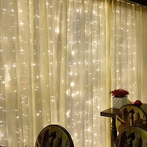 Price comparison product image Warmoor Curtain String Lights 300 LED Icicle Wall Lights,  8 Mode For Wedding,  Party,  Holiday,  Home decoration,  UL Certification (3mx3m,  Warm White)