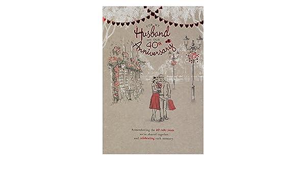 Hallmark - Tarjeta de felicitación para bodas de rubí (tamaño grande ...