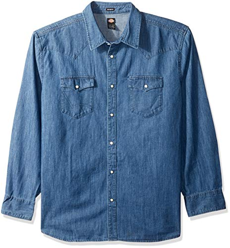 Stonewashed Denim Shirt - Dickies Men's Long Sleeve Relaxed fit Western Denim Shirt, Stonewashed Indigo Blue, XL