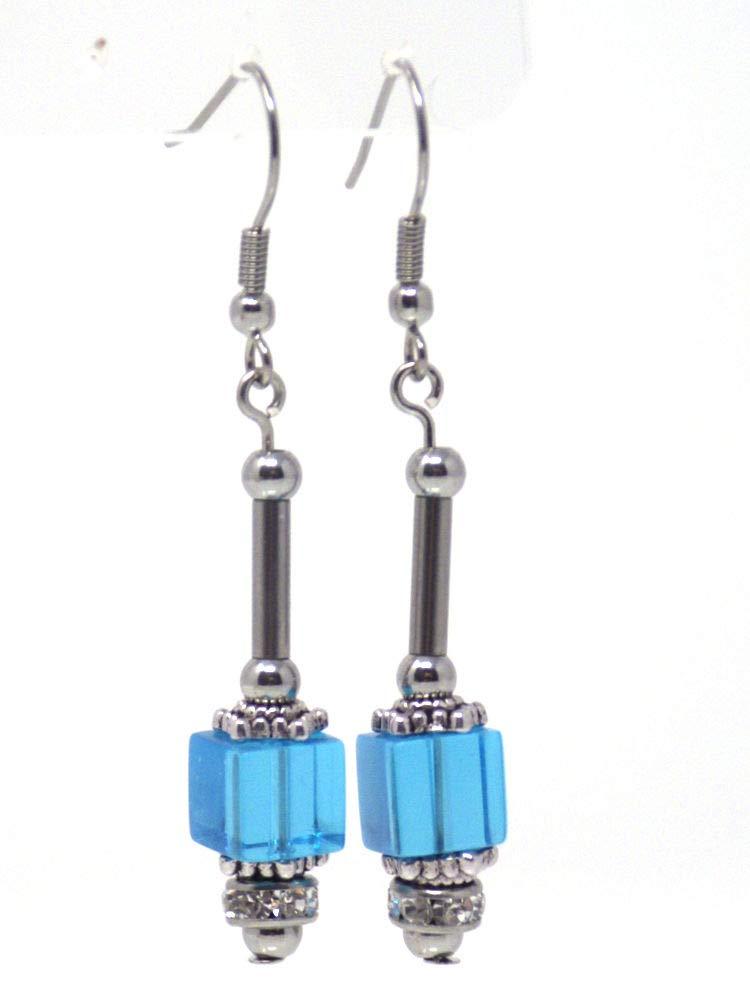 Pendientes colgantes de cristal azul y strass con tubo de acero inoxidable perlado