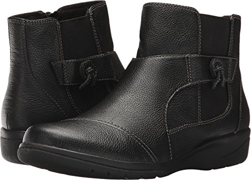 CLARKS Women's Cheyn Work Ankle Bootie, Black Leather, 7.5 B(M) - Boots Shoes For Clark Women