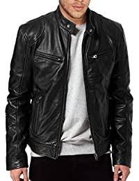 Men's SWORD Black Genuine Lambskin Leather Biker Jacket