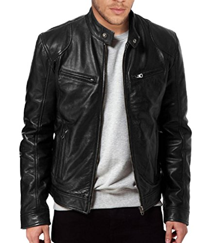 (The Leather Factory Men's Sword Black Genuine Lambskin Leather Biker Jacket L Black)