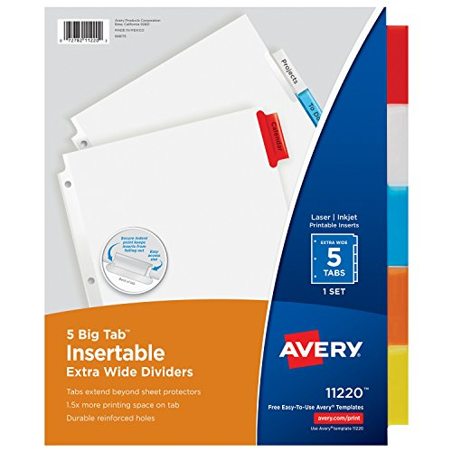 Avery Big Tab Insertable Extra-Wide Dividers, 5 Multicolor Tabs, 1 Set (11220)