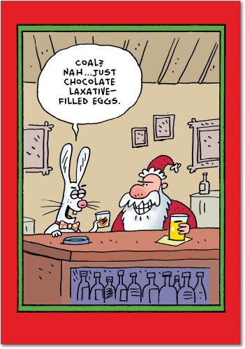 Santa Easter Bunny Laxative Eggs - 12 Funny Merry Christmas Cards with Envelopes (4.63 x 6.75 Inch) - Adult Humor, Stationery Happy Holidays Notecard Set - Santa Claus Xmas Gifts B1771 ()