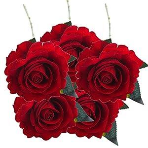 Alonea 5 Pcs Artificial Silk Fake Flowers Rose Flower Wedding Bouquet Party Home Decor Romantic Decor (G) 38