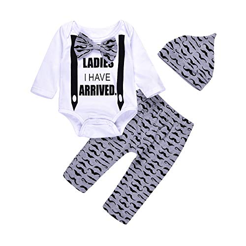 Gentleman Mustache Baby Boys Outfit Rompers Onesie Jumpsuit Long Sleeve Bowtie Little Man (0-6M) White ()