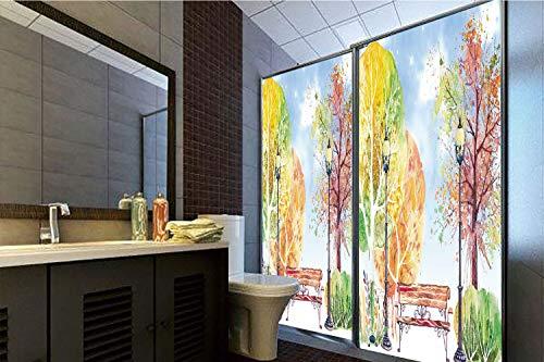 (Horrisophie dodo No Glue Static Cling Glass Sticker,Landscape,Hand Drawn Watercolor Autumn Park Trees Shrubs Bench and Lanterns Nature Artwork,Multicolor,39.37
