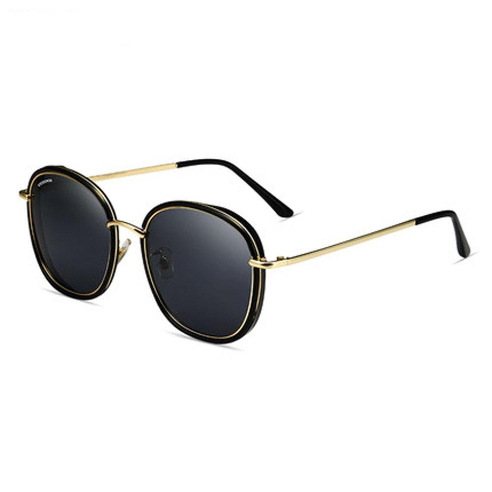 ZY Women's sunglasses new ladies round face big frame sunglasses ladies polarizer driving sunglasses,A