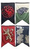 Calhoun Game of Thrones House Sigils & Westeros Map Wall Banner Set - Set of 4