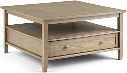 SIMPLIHOME Warm Shaker SOLID WOOD 36 inch Wide Square Rustic Coffee Table