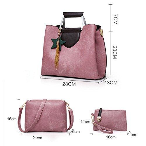 Unie Trois De Women's Frange D'épaule Pièces À Zll Main Couleur Pink Sac Bag Mode Femmes Des q7FwXt