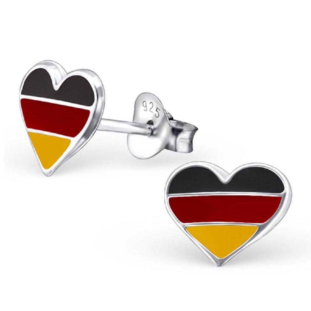 925 Sterling Silver German Heart Stud Earrings 13275