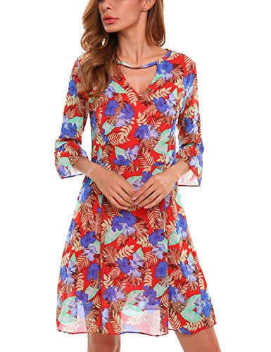 V-Neck Flare Sleeve Tunic Floral Prints A-Line Pleated Hem Chiffon Dress Pattern2 XXL ()