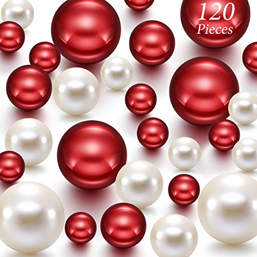120 Pieces Pearl for Vase Filler Valentine Ornaments Pearls Bead for Vase Makeup Beads for Brushes Holder Assorted Round Faux Pearl for Home Wedding Decor, 14 MM 20 MM 30 MM (Creamy White, Bright Red)