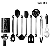 Kitchen Utensils Set, Silicone and Stainless Steel Made Cooking Utensils set, 9 Pieces Nonstick Non-Scratch Kitchen Tools