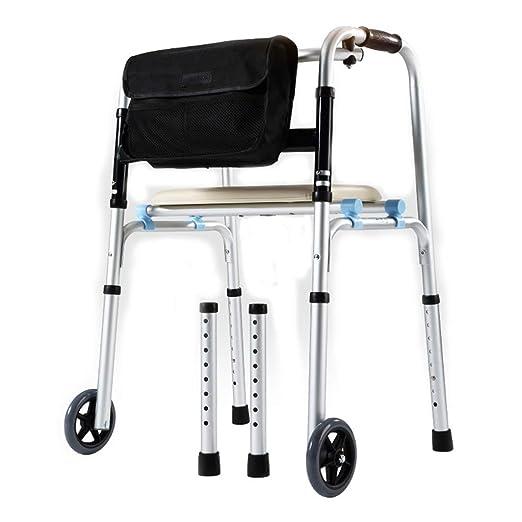 HMHD Plegable Andador para Ancianos de 2 Ruedas | Regulable ...