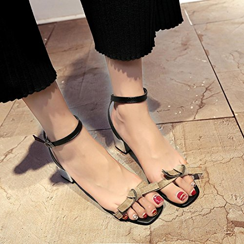 Elevin(TM) 2018Women Summer Open Toe Thick Heel Shoes Gladiator Shoes Wedding Sandals Gray RVeLMo5