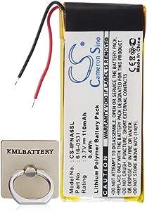 KML Battery for Apple 616-0531, Fits Apple iPod Nano 6th, iPod Nano 6th Generation, Li-Polymer 3.70V 110mAh