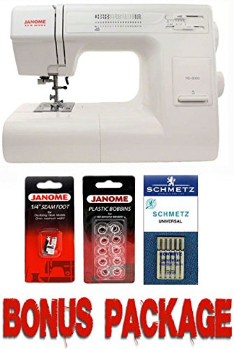 Janome HD3000 Heavy Duty Mechanical Sewing Machine With Bonus Accessories Hard Case