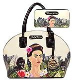Frida Kahlo Licensed Large Purse Wallet Set, Jungle and Monkey Collection (Black)