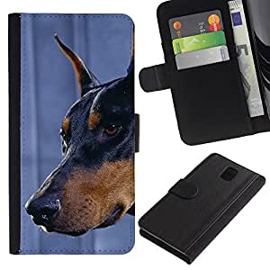 EuroCase - Samsung Galaxy Note 3 III N9000 N9002 N9005 - Doberman Pinscher canine dog miniature - Cuero PU Delgado caso cubierta Shell Armor Funda Case Cover