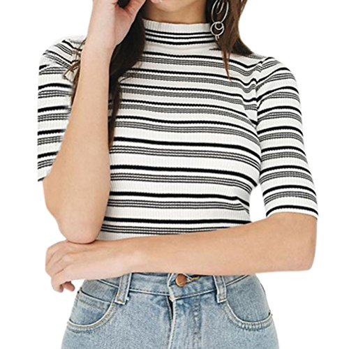 Stripe Turtleneck Top (ZXZY Women Casual Half Sleeve Turtle Neck Striped Shirt Tops Blouse Tee)