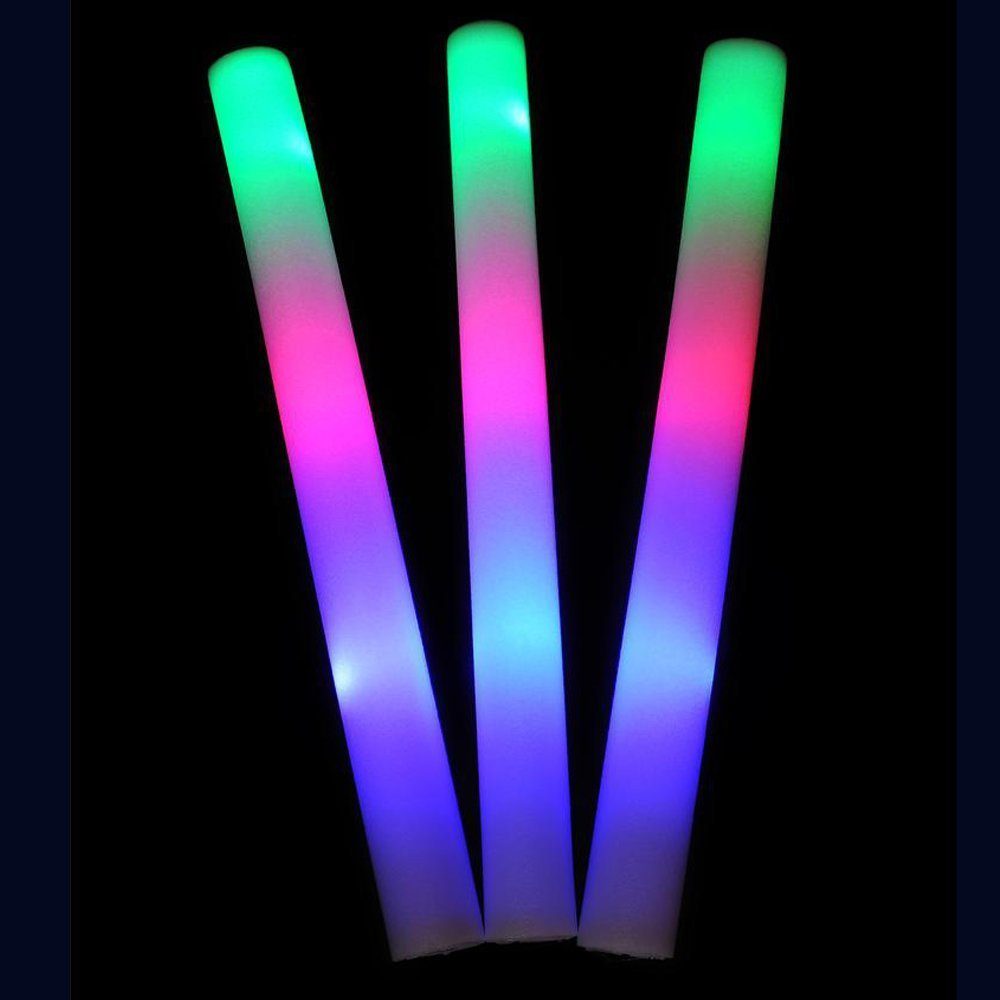 16'' light Up Foam sticks, 3 Modes Colorful flashing LED Strobe Stick for Concerts, Parties and Events by Lifbeier, 22 Pieces