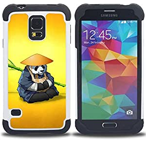 - The Panda Warrior Meditating/ H??brido 3in1 Deluxe Impreso duro Soft Alto Impacto caja de la armadura Defender - SHIMIN CAO - For Samsung Galaxy S5 I9600 G9009 G9008V